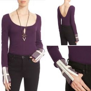 Free people mod purple stripe cuff thermal